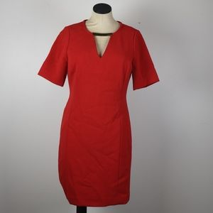 Michael Kors Red V-neck shift dress gold Detail 2
